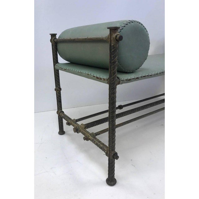 1960s Industrial Leather Wrought Iron Bench For Sale - Image 5 of 7