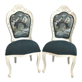 20th Century Teal Velvet & Chinoiserie Louis XV Rococo Chairs - a Pair For Sale