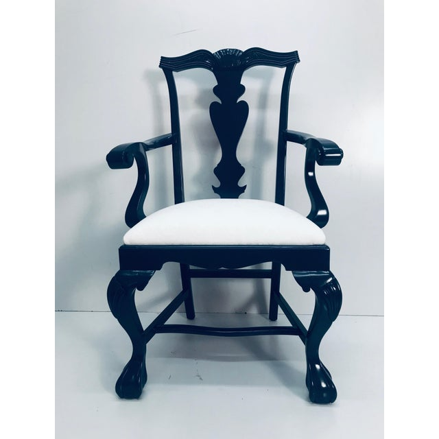 Traditional Chippendale chairs newly upholstered in Duralee seashell white on white outdoor fabric. Ball and claw foot....