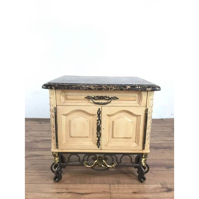 Vintage French Rococo Style Carved & Painted Wood Marble Top Sideboard For Sale - Image 11 of 11