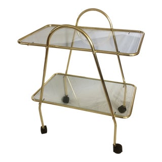 Mid Century Italian Brass and Glass Arched Handle Bar Service Cart For Sale