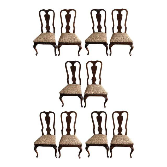 Brown 1990s Vintage Drexel Heritage Queen Anne Style Dining Chairs - Set of 10 For Sale - Image 8 of 9