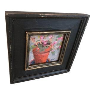 Chinese Geranium Plein Air Original Oil Painting For Sale