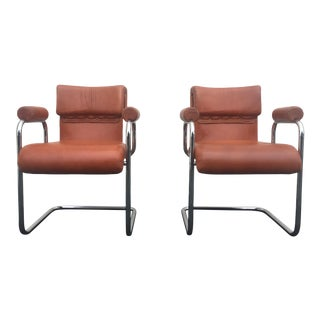 1970s Vintage Guido Faleschini Italian Leather and Chrome Chairs — A Pair For Sale