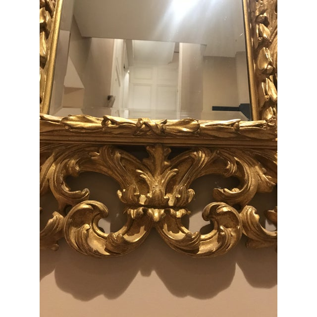 Antiqued Art Deco Gold Brocade Wall Mirror For Sale In New York - Image 6 of 11