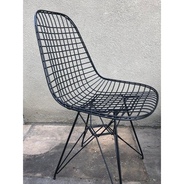 Metal Herman Miller Eames Vintage Wire Chair Eiffel Original For Sale - Image 7 of 8