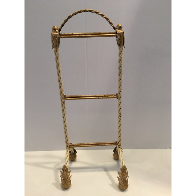 Metal Italian Painted Hand Towel Holder For Sale - Image 7 of 8