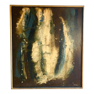 Mid-Century Abstract Oil Painting Signed George Trivolinni For Sale