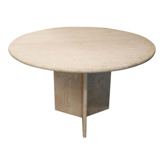 Round Travertine Dining Table, 1970's For Sale
