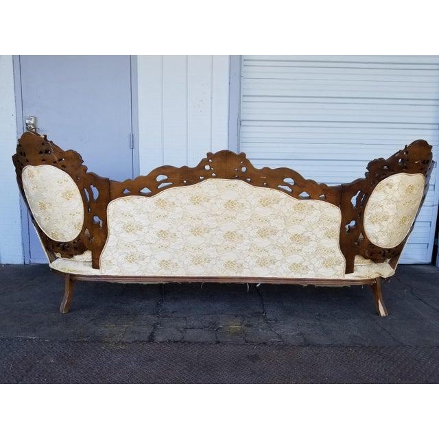 Vintage Victorian Carved Wood Sofa For Sale - Image 9 of 10