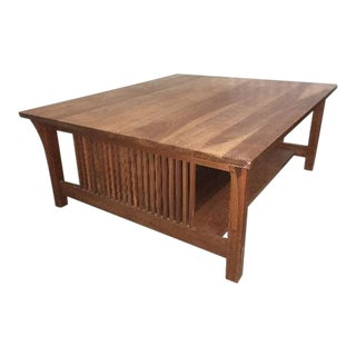 1990s Mission Style Stickley Cocktail Table For Sale