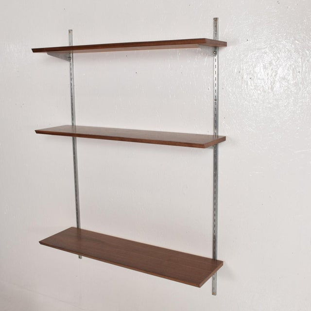 Danish Modern Mid-Century Modern Eames Era Walnut & Aluminum Bookcase Shelving Wall Unit For Sale - Image 3 of 10