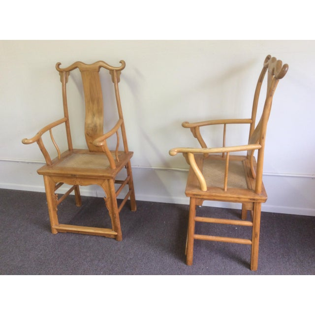 Wood Pair of Antique Chinese Armchairs For Sale - Image 7 of 13