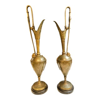 Pair of Classical Figural Bronze Neoclassical Ewers, 19th Century For Sale