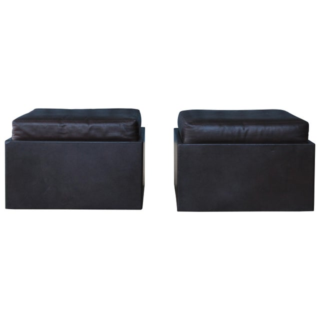 Pair of Leather Wrapped Ottomans, 1970s For Sale - Image 10 of 10