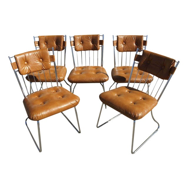 Daystrom Chrome And Vinyl Padded Chairs - Set of 5 - Image 1 of 8