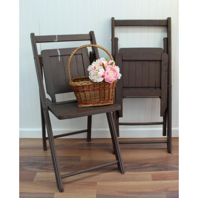 Antique Dark Taupe Painted Folding Chairs - Pair - Image 8 of 8