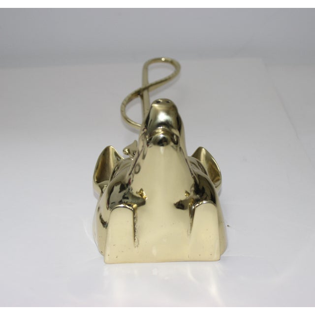 Gold Edwardian Style Fox and Riding Crop Door Stop Polished Brass For Sale - Image 8 of 12