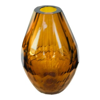 21st Century Amber Murano for Mogul Exclusive Diamond Faceted Crystal Teardrop Vase Medium For Sale