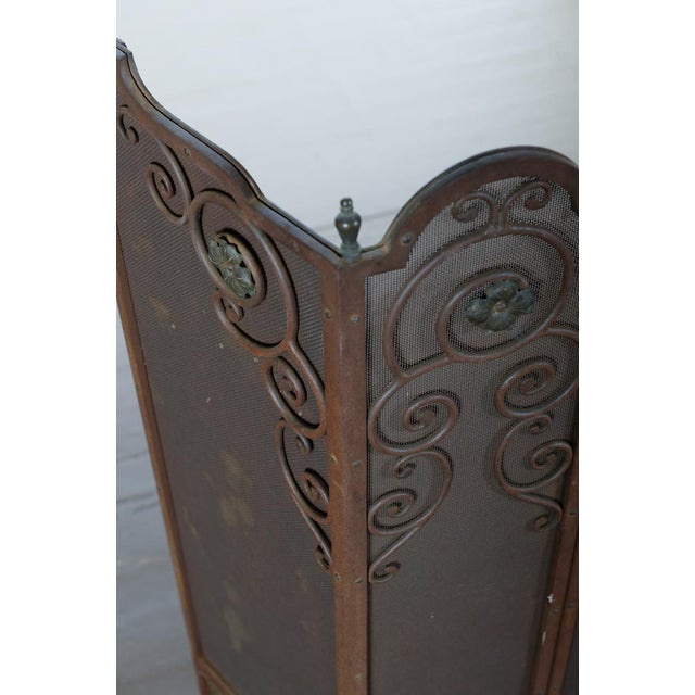 Antique Ornate Spanish Cast Iron Fire Place Screen For Sale - Image 4 of 7