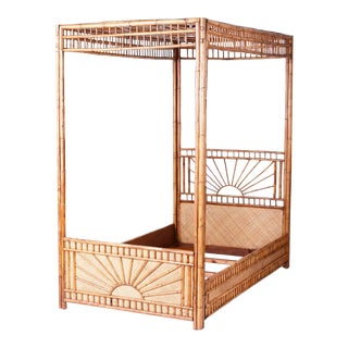 1970s Mid-Century Bamboo and Grasscloth Twin Canopy Bed Frame
