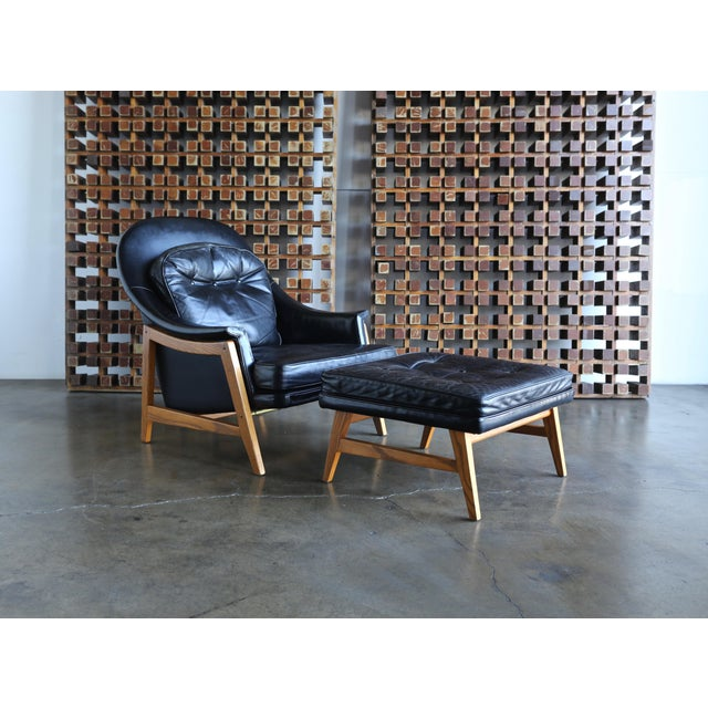 Edward Wormley for Dunbar Leather Lounge Chair and Ottoman Circa 1957 For Sale - Image 9 of 13