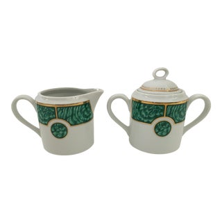 George's Briard Malachite Vintage Milk and Sugar Set For Sale
