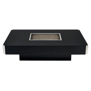 Italian Vintage Ebonized Coffee Table With Chrome by Willy Rizzo For Sale