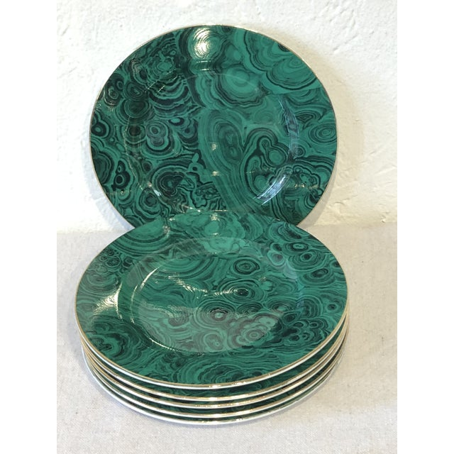 Six, lovely green faux malachite china plates with simple gold detail on rim edge. Each plate has a slightly different...