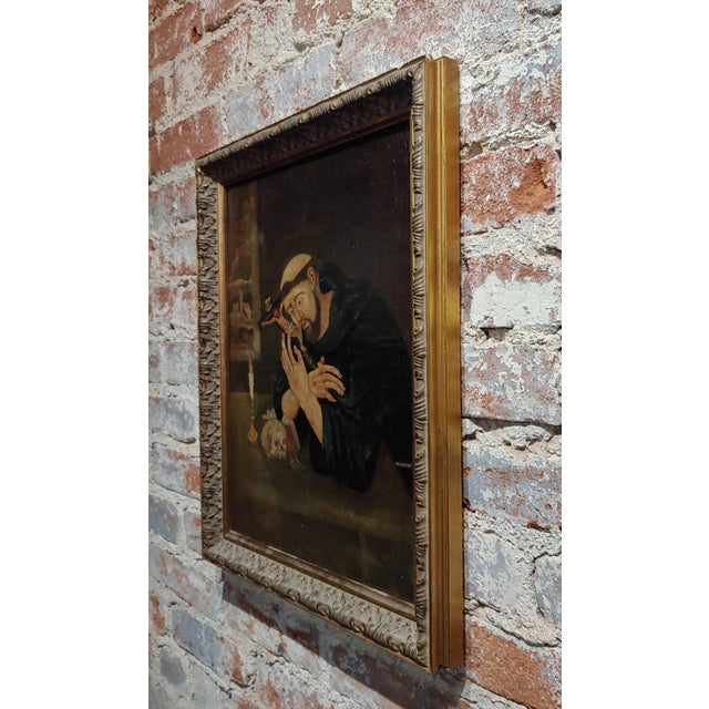 18th Century Spanish Colonial- Saint Francis of Assisi -Oil Painting For Sale In Los Angeles - Image 6 of 8