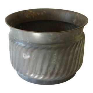 Patinated Copper Cache Pot For Sale
