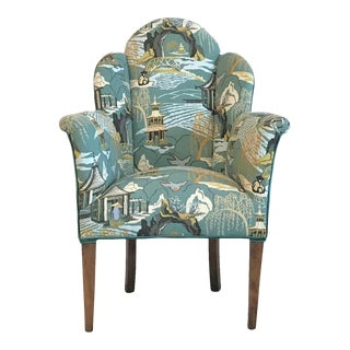 1930s Art Deco Diminutive Robert Allen Chinoiserie & Velvet Armchair For Sale