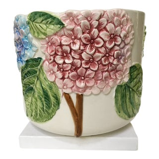 Italian 20th Century Cottage Hydrangea Motif White Ceramic Planter For Sale