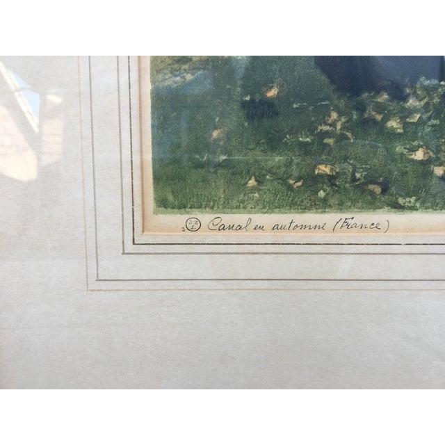 "Impressionism ""Canal en Automne (France)"" Signed Henri Jourdain Color Etching For Sale - Image 3 of 13"