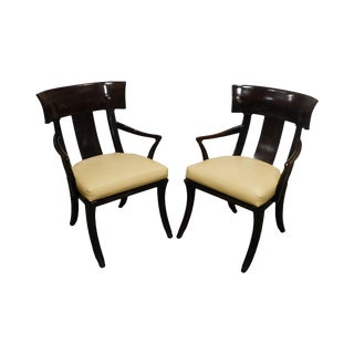 Henredon Empire Klismos Style Pair Leather Seat Armchairs For Sale