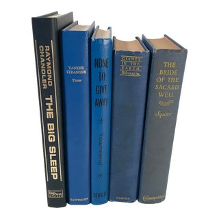 Vintage Mid Century Decorative Blue Books- Set of 5 For Sale