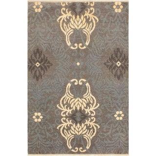 Elisora Modern Oleta Gray/Ivory Wool & Viscouse Rug - 4'2 X 6'0 For Sale
