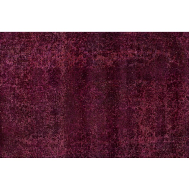 Traditional Mid 20th Century Vintage Overdyed Wool Rug For Sale - Image 3 of 6