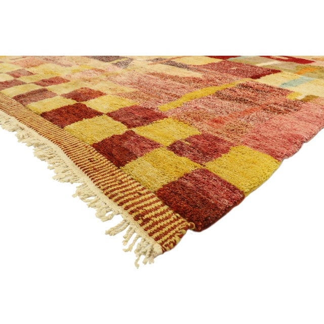 21080, new contemporary Moroccan rug with Abstract Cubist style inspired by Paul Klee. Displaying well-balanced asymmetry...