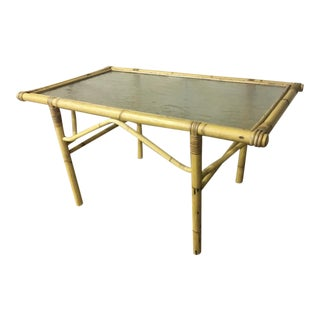 French Riviera Coffee Table in Bamboo and Glass Top For Sale