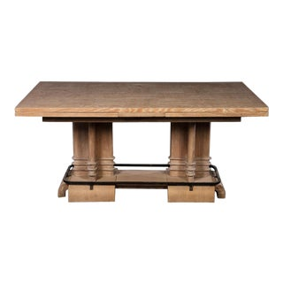 French Art Deco Cerused Oak Dining Table For Sale