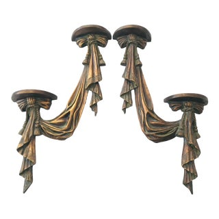 Dorothy Draper Style Tassel Draped Two Tier Wall Shelves Brackets - a Pair For Sale