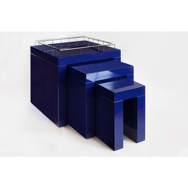 Memphis Group 1970s Marco Zanini Memphis Group Blue Enameled Steel Nesting Tables - Set of 3 For Sale - Image 4 of 6