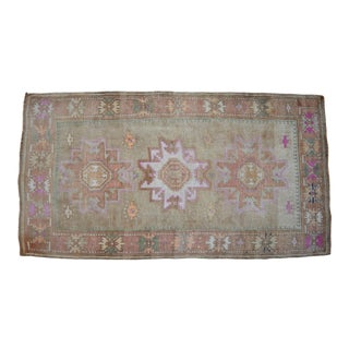 Pale Colors Turkish Area Rug Hand Knotted Wool Distressed Rug - 3'8'' X 6'10'' For Sale