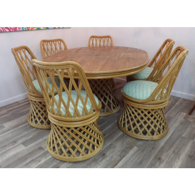 Brown Vintage Rattan Dining Set - 7 Pieces For Sale - Image 8 of 8