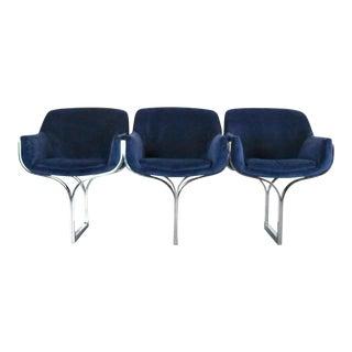 1970s Contemporary Milo Baughman Style Chrome Three-Seater