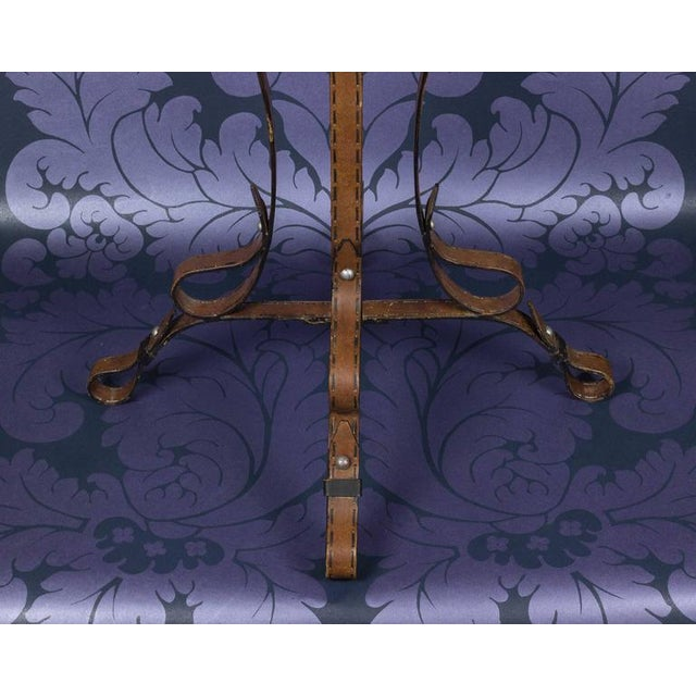 """Unique French """"Leather"""" Wrought Iron Table With Glass Top - Image 4 of 11"""