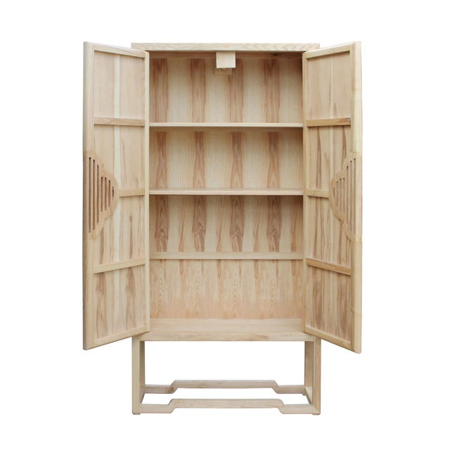 Minimalist Light Raw Wood Shutter Doors Bookcase Display Dresser Cabinet For Sale In San Francisco - Image 6 of 9