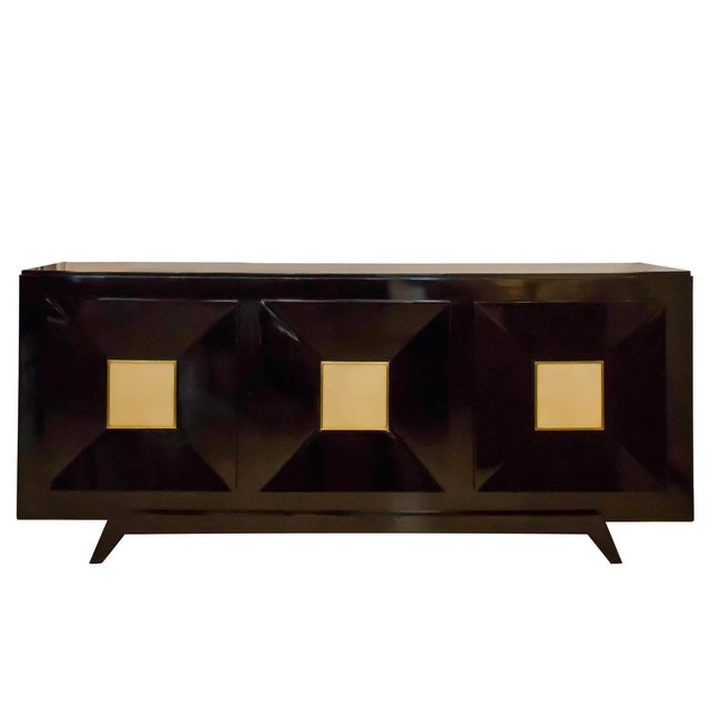 French Ebonized Sideboard with Parchment Doors For Sale - Image 13 of 13