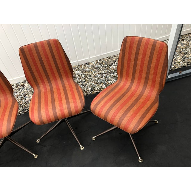 Mid Century Howell Acme Striped Vinyl Chairs Set of 4. Chairs are in very good condition, no rips or tears in vinyl. Seats...
